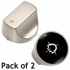 2 x Silver Switch Knobs for HOTPOINT Hot-Ari ix Hob Oven SHS33CX SHS33CXS SHS33X