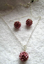 FREE GIFT BAG 925 Sterling Silver Crystal Encrusted Glitter Ball Necklace Chain