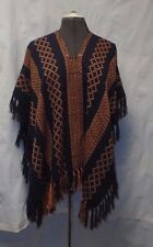 Free People Navy/Pink Weave Lightweight Poncho S/O $68 NWOT Fringed Versatile
