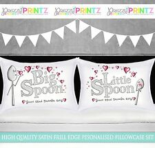 PERSONALISED BIG SPOON LITTLE SPOON PILLOWCASE BED SET GIFT CHRISTMAS VALENTINES