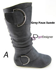 Women's Slouch Comfy Zipper Flat Over The Knee High Boots Slip on All Size 5-10