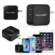 BlitzWolf 4.8A 24W Dual USB Travel Wall US Plug Fast Charger For Phone Tablet