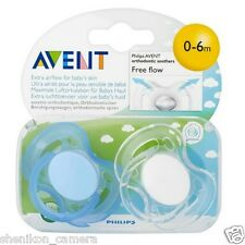New Philips Avent Free Flow Orthodontic Soother Pacifier 0-6M Months Twin Pack