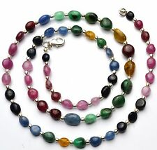 Super Quality Natural Gem Emerald Ruby Sapphire Smooth Nuggets Bead Necklace 23""