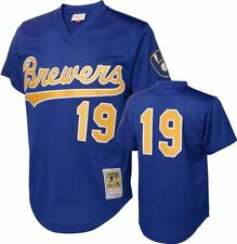 1991 MILWAUKEE BREWERS Robin Yount Blue Mitchell & Ness BP Jersey M