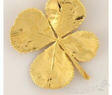 New 24K Gold Dipped Four Leaf Clover Pendant Natural Jewelry in a Gift Box