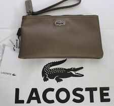 NWT LACOSTE Bronze Embroidered GATOR Logo Top Zip Clutch Bag Wristlet