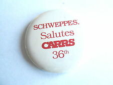 Cool Vintage Schweppes Salutes Carrs 36th Soda Water Advertising Pinback