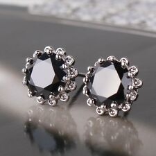 Fashion new black sapphire noble 18K White gold filled wedding stud earring