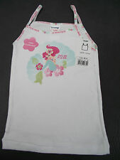 BNWT Girls Sz 2 Quality Disney Ariel Mermaid 100% Cotton White Singlet/Tank Top