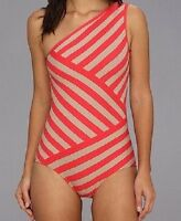 DKNY One Piece Swimsuit Sz 6 Coral Tan One Shoulder Striped Maillot Swim D63313