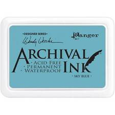New Ranger Archival Rubber stamp Ink pad SKY BLUE VECCHI FREE US SHIP