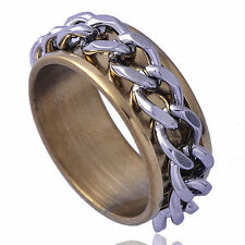 Cool Yellow Gold Filled Stainless Steel LINK Men Promise Mood Band Ring Size 8