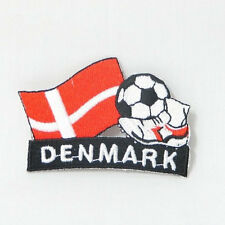 DENMARK SOCCER FOOTBALL KICK COUNTRY FLAG EMBROIDERED IRON-ON PATCH CREST BADGE