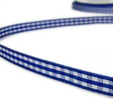 "5 Yards Royal Blue White Gingham Ribbon 1/4""W"