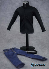 "1/6 scale custom Black shirt Jeans Belt set fit 12"" Apple CEO Steve Jobs figure"