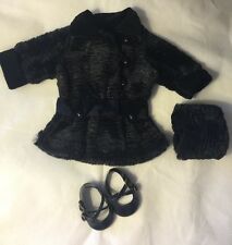 American Girl Rebecca's Winter Faux Black Fur Coat With Hand Muff & Black Shoes