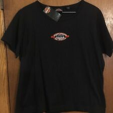 HARLEY DAVIDSON 100TH ANNIVERSARY WOMENS SMALL BLACK EMBROIDERED TEE NWT!!!