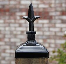 Decorative Triad Spear Top Post Cap for 4x4 Wood / Composite Post, Wrought iron