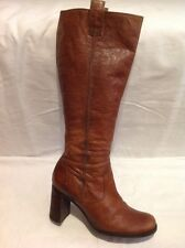 Ladies Brown Knee High Leather Boots Size 4