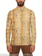 BNWT GALLIANO Yellow Python Printed L/S Cotton Poplin Shirt Ita48/Uk38/MEDIUM