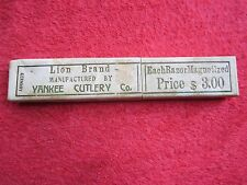 YANKEE CUTLERY LION BRAND MAGNETIZED STRAIGHT RAZOR EMPTY BOX ONLY