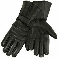 Men's Genuine Leather Motorcycle Gloves Waterproof Motorbike Riding Glove Black