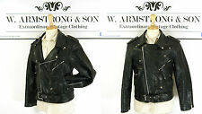 Men's Black GENUINE LEATHER Biker MOTORCYCLE Perfecto VTG 70s Punk Jacket UK M