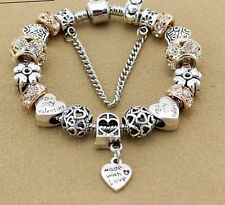 FREE PANDORA GIFT WITH SILVER BRACELET & ROSE GOLD CHARMS DANGLE HEART XMAS