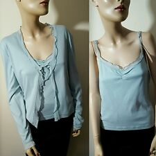 Hobbs 100% Cotton Blue Twinset 2 Piece Cardigan Camisole Vest Top Size 14 16