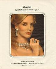 Publicité 1978  CHAUMET  bijoux bague joaillier pendentif collier collection