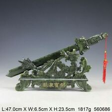 Oriental Vintage Handwork Carved Jade Dragon Sword Statue