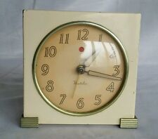 Westclox Electric Alarm Clock Vintage Cream Metal Retro Art Deco