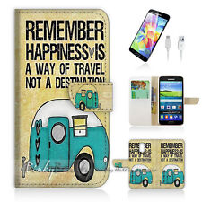 Samsung Galaxy S5 Print Flip Wallet Case Cover! Forever Happy P0179