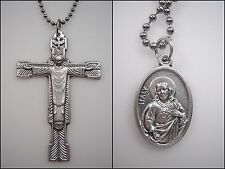 2 Catholic Pendants Redeemer Crucifix & St. Medal w/chains cruz y de medallas