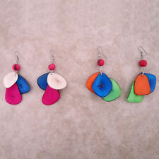 Two Pair 2 Tagua Acai Beads Earrings Amazon Tri Color Jungle Jewelry Peru Art
