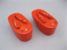 VINTAGE JAPANESE MINIATURE OKOBO GETA SANDALS~RED LACQUER WOOD~RED SILK THONG