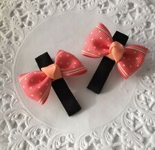 2 Packs Of Peach And Black Butterfly Bow Hair Clip