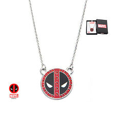 Women's Marvel Stainless Steel Deadpool Mask with Red Gem Pendant Necklace NIB