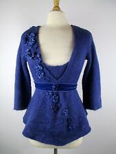 Sleeping on Snow Anthropologie Floral Applique Peplum Sweater Blue Large