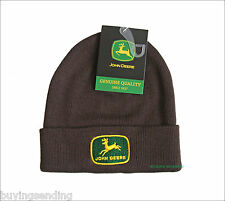 UK SELLER BRAND NEW LICENSED JOHN DEERE 1956 LOGO BROWN BEANIE CAP WINTER HAT