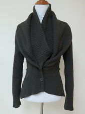Givenchy Cardigan Sweater Ribbed Knit Double-Collar Dark Olive Green Size Small