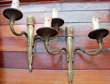 PAIR OF  FRENCH BRONZE GILDED  OF WALL LAMPS SCONCES EMPIRE STYLE