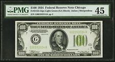 """$100 1934 Federal Reserve Note Chicago """"LIGHT GREEN SEAL"""" PMG 45 Choice Extremel"""