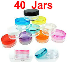 40 Pack 3 gram Mix Color Lid Jar cosmetic Sample makeup cream pot container 3g