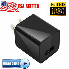 1080P HD Spy Mini US Plug Charger Hidden Camera Cycle DVR Video Recorder 16GB