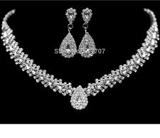 Silver Teardrop Wheat Diamante Crystal Necklace Earrings Bridal/Party Set Gift