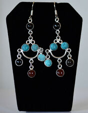 Silver Metal Multigemstone Chandelier Hook Earring Fashion Jewelry from India