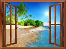 Palm Tree on the Beach and Clear Sea View from inside a Window/ Wall Mural-24x32
