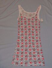 Women's SZ S Teen Girl's long lean white flowered print Mossimo TANK TOP